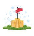 pile of money with flag and set icons vector image vector image