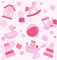 pink seamless pattern with baby toys vector image