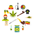 rastafarian icons set flat style vector image vector image
