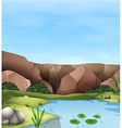Scene of cliff and pond vector image