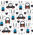 seamless pattern with rabbit boy and car in scandi vector image