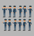 set of a policeman cartoon character in poses vector image vector image