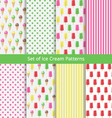 Set of nice ice cream patterns vector image vector image