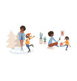 single black mother with daughter and cat vector image vector image