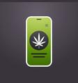 smartphone screen with marijuana leaf icon mobile vector image