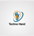 techno hand logo with swoosh and bulb concept vector image