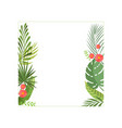 tropical leaves and flowers elegant frame with vector image