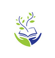 two hands hold a book and green sprout vector image vector image