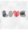 Word Love written with fingerprint Valentine card vector image vector image
