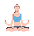 young woman cross-legged sitting in padmasana or vector image vector image