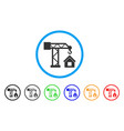 crane house building rounded icon vector image