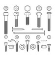 metal fasteners line icons set vector image