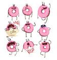funny pink donut cartoon character set cute vector image