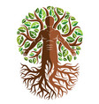 athletic man created as continuation of tree with vector image vector image