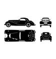 black silhouette retro car vintage cabriolet vector image