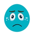 blue cartoon face crying graphic vector image vector image