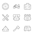 Camping icons set outline style