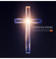 christian cross sign with shining light effect vector image