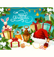 christmas gift with festive lights greeting card vector image vector image