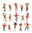 christmas party characters happy woman dancing vector image vector image
