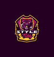 colorful emblem an aggressive bear sports logo vector image vector image