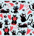 cool pattern funny loving cats vector image