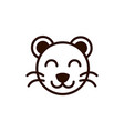cute face tiger animal cartoon icon thick line vector image