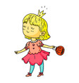 cute girl in princess halloween party dress vector image vector image