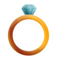 diamond ring icon cartoon style vector image