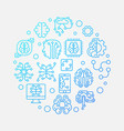 digital brain round blue outline concept vector image vector image