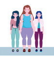 diversity and inclusion women tall stature curvy vector image vector image