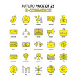 e-commerce icon set yellow futuro latest design vector image