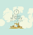 easter card with church on hill sky and clouds vector image vector image
