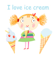 Girl with ice cream vector image vector image