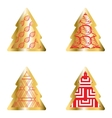 Gold And Red Christmas Tree Icon Set