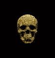 golden sparkling human skull vector image