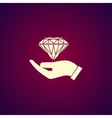 Hand and diamond icon vector image