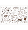 hand drawn kitchen tools isolated icons set vector image
