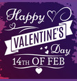 happy valentines day banner on grunge colorful vector image