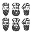 hipster hairstyle and beard style sketches vector image