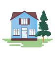 house facade with tree garden vector image