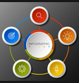 infographics circular option banner with of 5 step vector image vector image