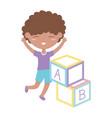 kids zone cute little boy alphabet blocks toys vector image vector image