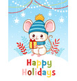 little mouse is standing on a hill holding a new vector image vector image
