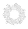 marigold flower - tagetes wreath outline vector image