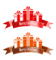 merry christmas banner ribbon new year concept vector image vector image
