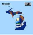 michigan map border with flag eps10 vector image