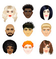 multicultural people faces set vector image vector image