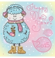 New year card with cartoon sheep and speech bubble vector image vector image