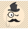 Retro vintage gentleman in a hat cylinder with vector image vector image